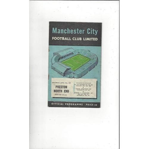 1956/57 Manchester City v Preston Football Programme