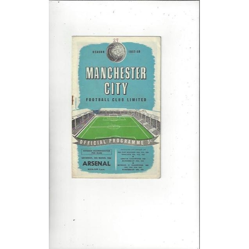 1957/58 Manchester City v Arsenal Football Programme