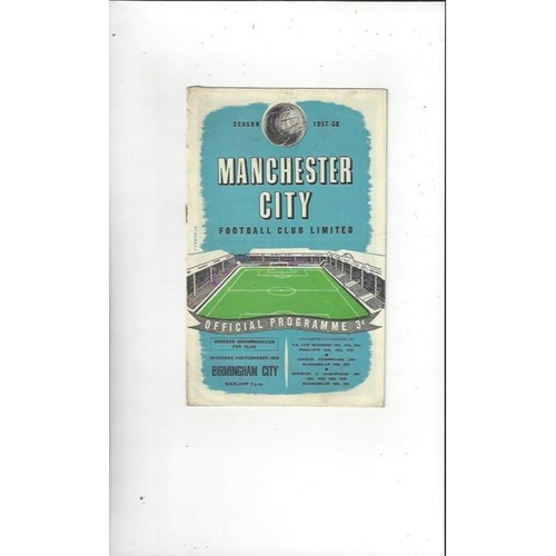 1957/58 Manchester City v Birmingham City Football Programme 15th Feb