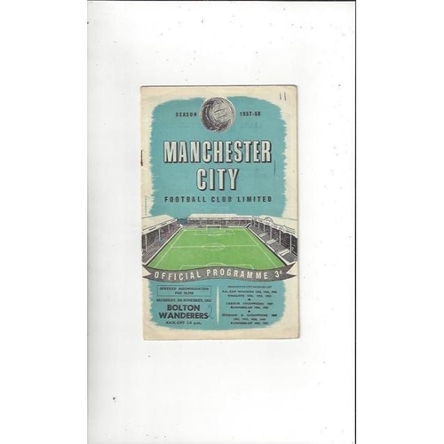 1957/58 Manchester City v Bolton Wanderers Football Programme