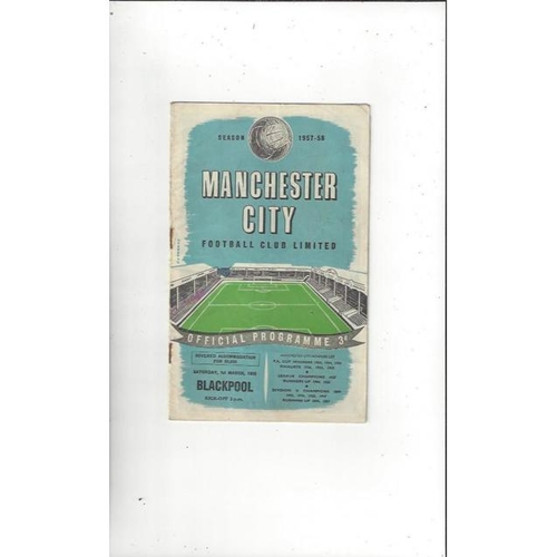 1957/58 Manchester City v Blackpool Football Programme