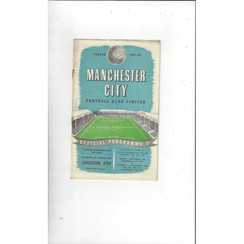 1957/58 Manchester City v Leicester City Football Programme