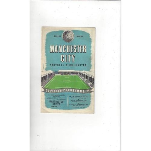 1957/58 Manchester City v Manchester United Football Programme + Team sheet