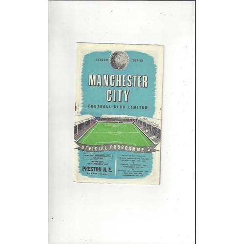 1957/58 Manchester City v Preston Football Programme