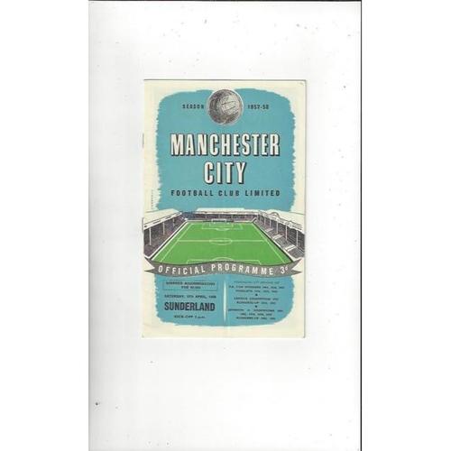 1957/58 Manchester City v Sunderland Football Programme