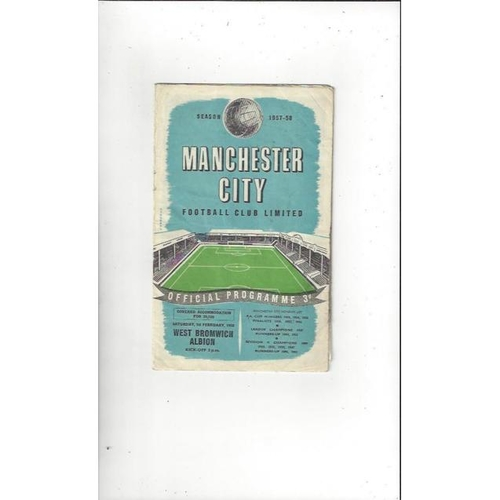 1957/58 Manchester City v West Bromwich Albion Football Programme