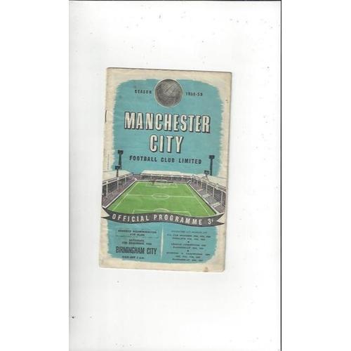 1958/59 Manchester City v Birmingham City Football Programme