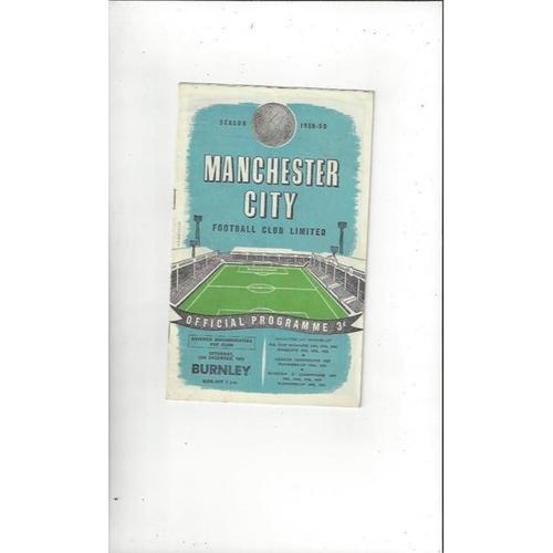 1958/59 Manchester City v Burnley Football Programme