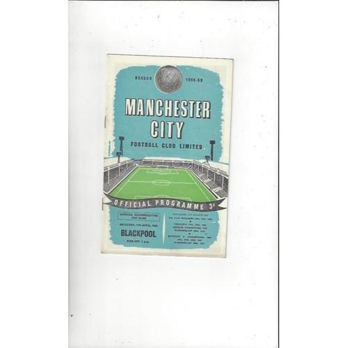 1958/59 Manchester City v Blackpool Football Programme