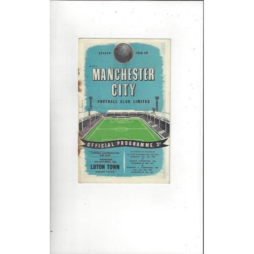 1958/59 Manchester City v Luton Town Football Programme