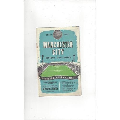 1958/59 Manchester City v Newcastle United Football Programme
