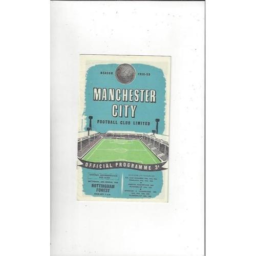 1958/59 Manchester City v Nottingham Forest Football Programme