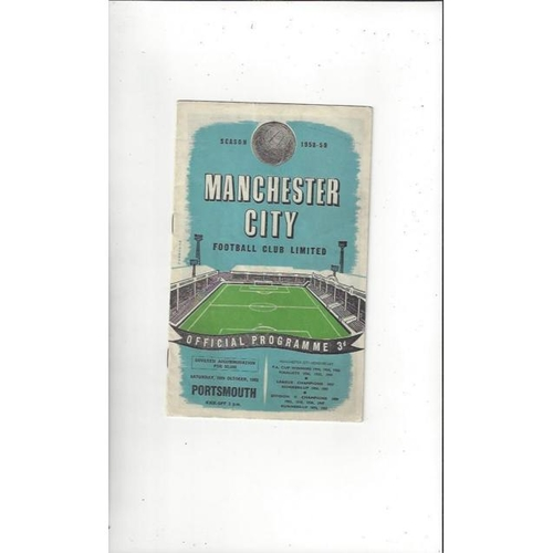 1958/59 Manchester City v Portsmouth Football Programme