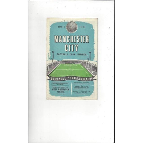 1958/59 Manchester City v West Bromwich Albion Football Programme
