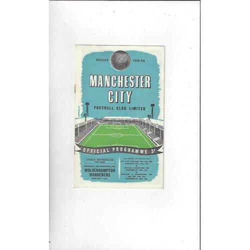 1958/59 Manchester City v Wolves Football Programme