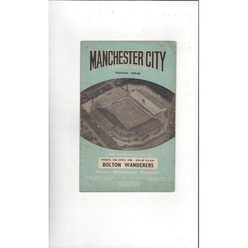 1959/60 Manchester City v Bolton Wanderers Football Programme