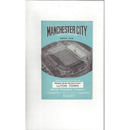 1959/60 Manchester City v Luton Town Football Programme