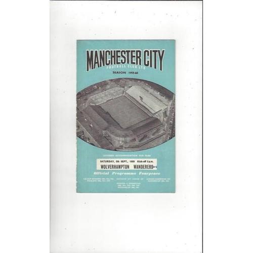 1959/60 Manchester City v Wolves Football Programme
