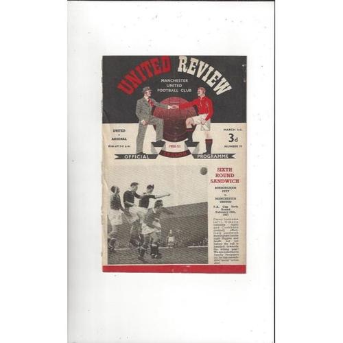 1950/51 Manchester United v Arsenal Football Programme