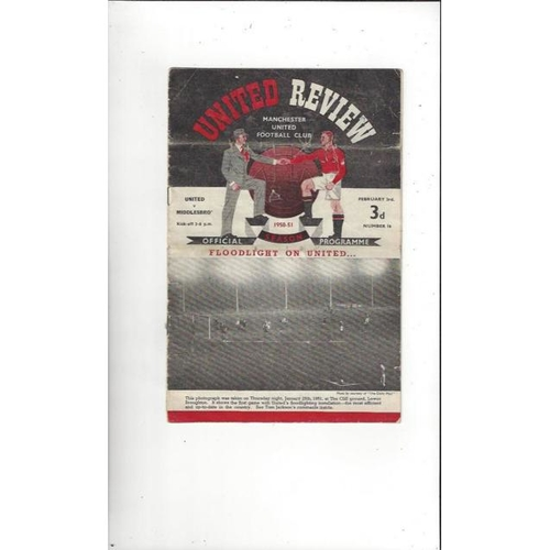 1950/51 Manchester United v Middlesbrough Football Programme