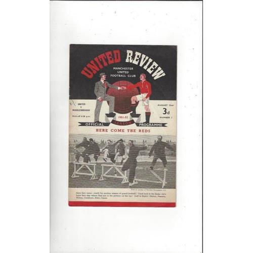1951/52 Manchester United v Middlesbrough Football Programme