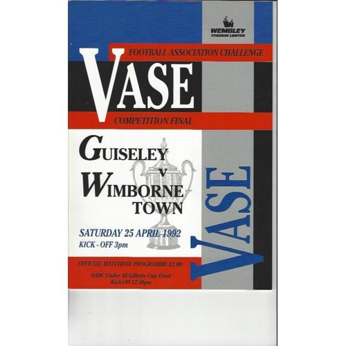 1992 Guiseley v Wimborne Town FA Vase Final Football Programme