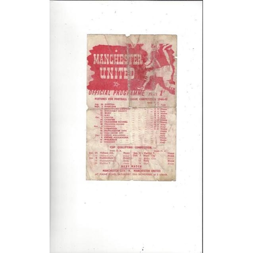 1944/45 Manchester United v Manchester City War Time League Programme Nov 18th