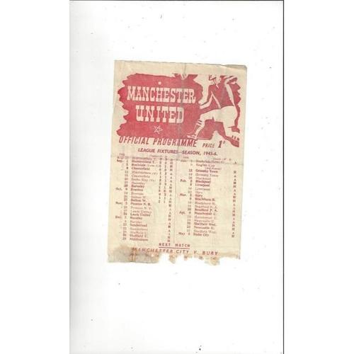 1945/46 Manchester United v Preston Football Programme. November 3rd