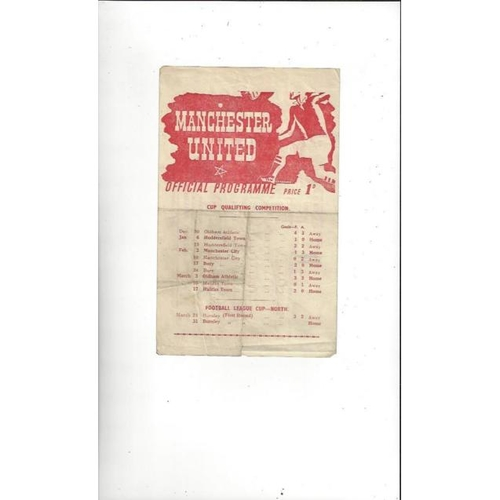 1944/45 Manchester United v Burnley League Cup North Football Programme