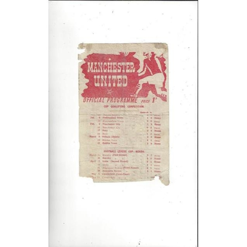 1944/45 Manchester United v Chesterfield League Cup North Semi Final Programme
