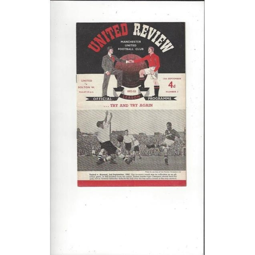 1952/53 Manchester United v Bolton Wanderers Football Programme