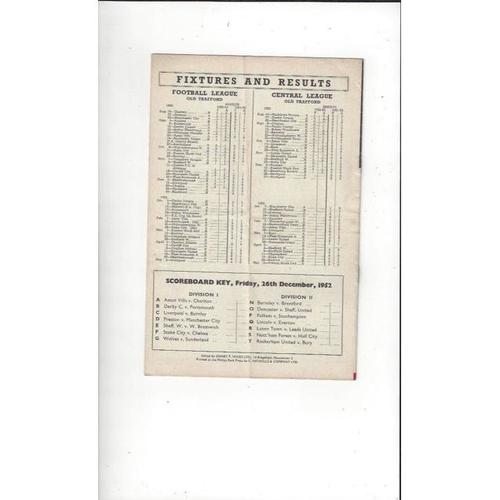 1952/53 Manchester United v Blackpool Football Programme