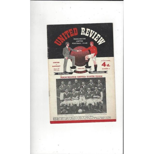 1953/54 Manchester United v Burnley Football Programme