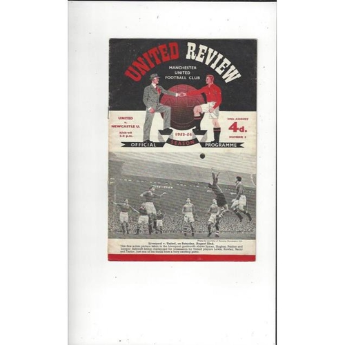 1953/54 Manchester United v Newcastle United Football Programme