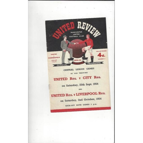 1954/55 Manchester United v Huddersfield Town Football Programme