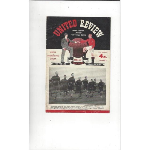 1954/55 Manchester United v Portsmouth Football Programme