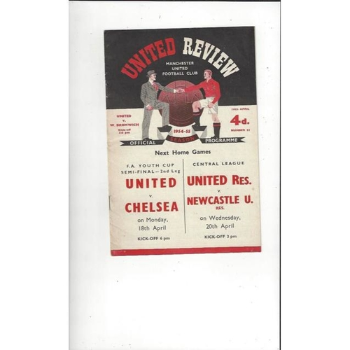 1954/55 Manchester United v West Bromwich Albion Football Programme