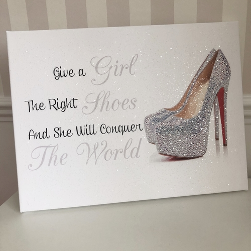 Glitter Canvas Shoe & Quote