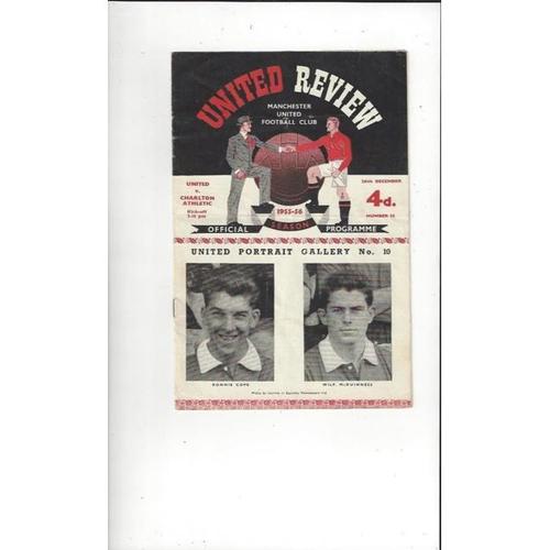 1955/56 Manchester United v Charlton Athletic Football Programme
