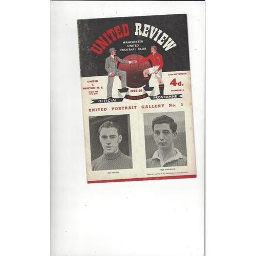 1955/56 Manchester United v Preston Football Programme