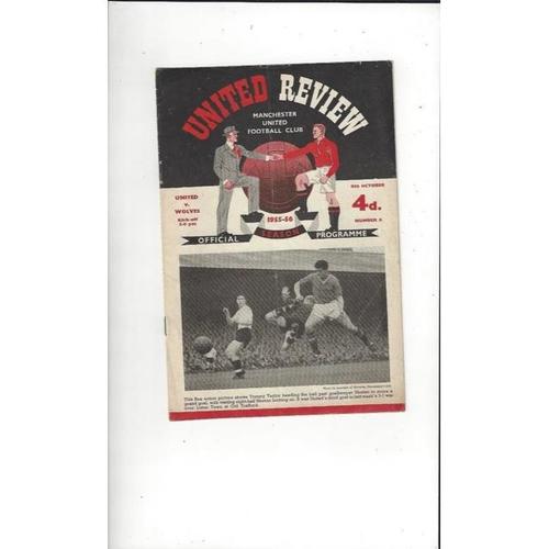 1955/56 Manchester United v Wolves Football Programme