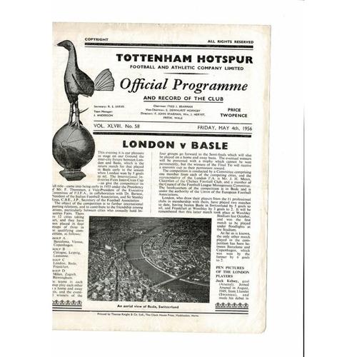 1956 London v Basle Inter Cities Fairs Cup Final Football Programme @ Spurs