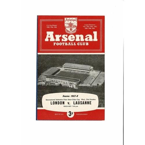 1957 London v Lausanne Inter Cities Fairs Cup Final Football Programme @ Arsenal