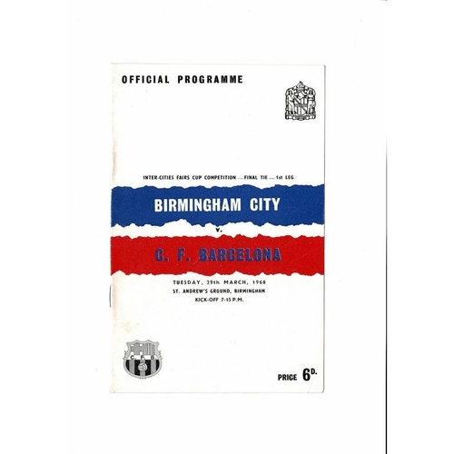 1960 Birmingham City v Barcelona UEFA Fairs Cup Final Football Programme