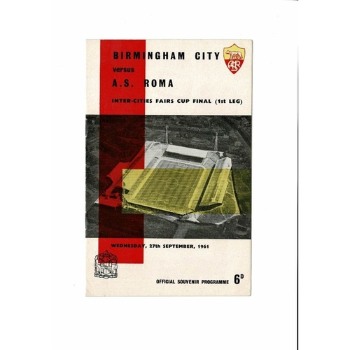 1961 Birmingham City v Roma UEFA Fairs Cup Final Football Programme