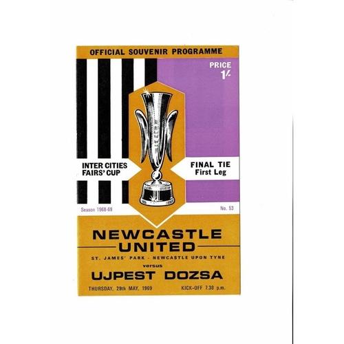 1969 Newcastle United v Ujpest Dozsa UEFA Fairs Cup Final Football Programme
