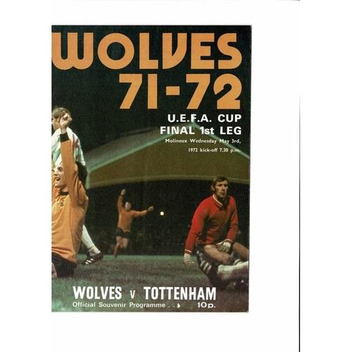 1972 Wolves v Tottenham Hotspur UEFA Cup Final Football Programme