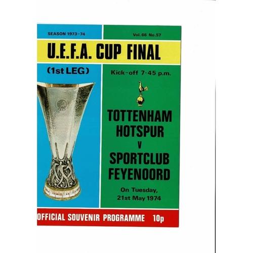 1974 Tottenham Hotspur v Feyenoord UEFA Cup Final Football Programme