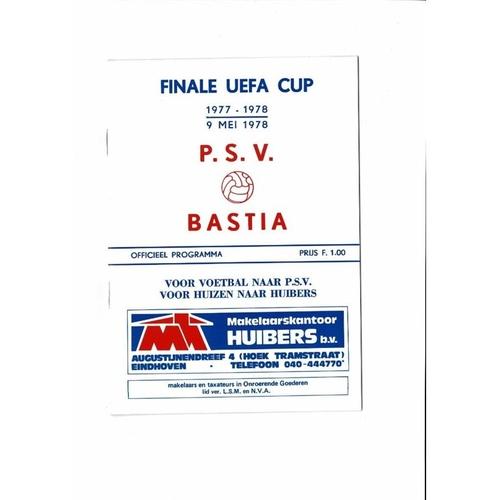 1978 PSV v Bastia UEFA Cup Final Football Programme