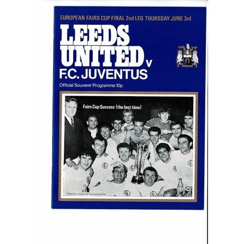 1971 Leeds United v Juventus UEFA Fairs Cup Final Football Programme